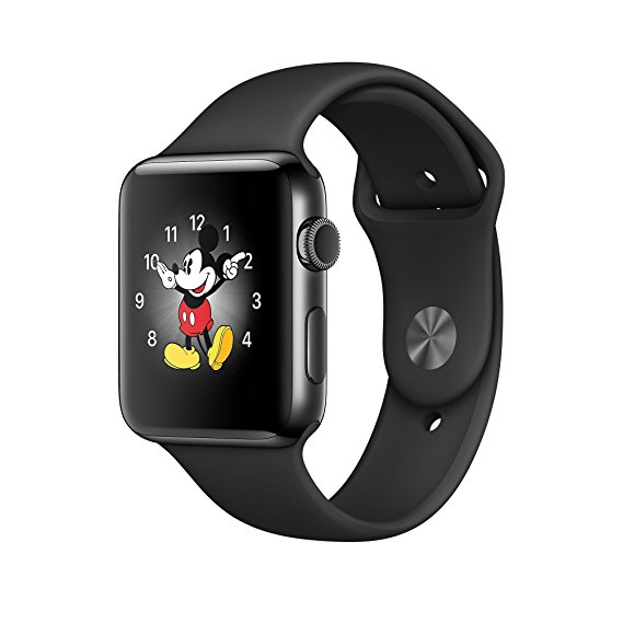 Apple Watch Series 2 42mm Stainless Steel Case Sport Band Black